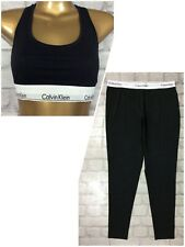CALVIN KLEIN LADIES UK L BLACK SLEEPWEAR SET RACER BACK VEST LOGO LEGGINGS