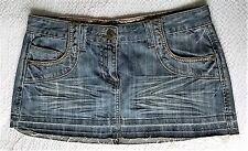 Miss Selfridge distressed denim short mini skirt UK 12 summer holidays festival