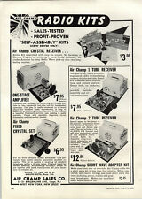 1954 PAPER AD Air Champ Radio Kits Crystal Receiver 2 Tube One Stage Amplifier