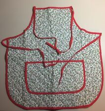 Vintage Mid Century Quilted Holly Berries Christmas Bib Apron 2 Front Pockets