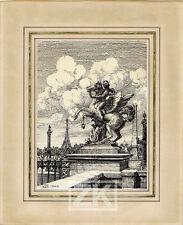 NICOLAS WILCKE Tour Eiffel Statue DESSIN Russe Albatros Décorateur Paris 1940 #3