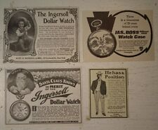INGERSOLL WATCH SANTA CLAUS WALTHAM KEYSTONE 1902 old print ADS