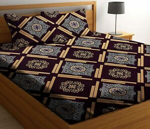 Microfiber 144 TC Double Bedsheet With 2 Pillow Covers Dark Brown Color