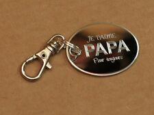 Porte clefs médailles avec gravure personnalisée Je t'aime Papa idée cadeau neuf