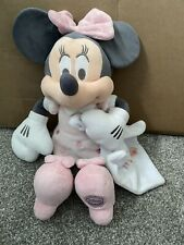 "Minnie Mouse Disney Store Exclusivo Manta Suave Rosa Gris Peluche 16"" Estampado"