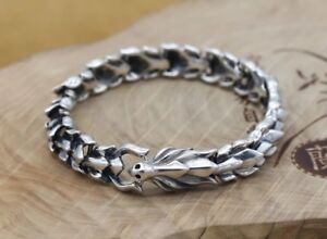 Solid 925 Sterling Silver Mens Heavy Fire Dragon Chain Wristband Cuff Bracelet