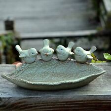Bird Bath Outdoor Garden Decor Birdbath Feeder Antique Vintage Yard Bowl Ceramic