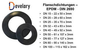 Flanschdichtung Flachdichtung Gummi Gummidichtung - DN 15 - DN 100 / 3mm Stärke