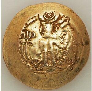 AD 440-490 HUNNIC TRIBES HEPHTHALITES ALCHON HUNS. KHINGILA AV SCYPHATE STATER