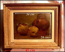 Alexis Auguste Delahogue ( 1867-1930 ) Nature Morte aux Pommes Huile signée 1886