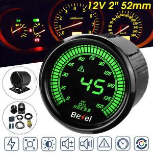 2'' 52mm Car LED Digital Oil Press Pressure Gauge Meter Sensor 12V 0-150 PSI