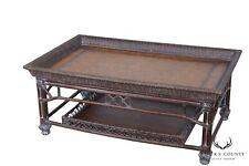 Rattan & Bamboo Leather Top Coffee Table