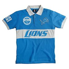 Detroit Lions SS Polo Rugby Shirt~Blue~Klew Woodmark~Men's Medium~NFL~Ships FREE