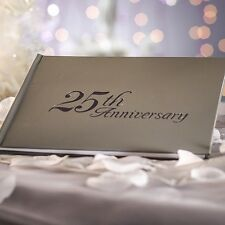 NIP VICTORIA LYNN 25th WEDDING ANNIVERSARY GUEST BOOK 32 pages Silver Embossed