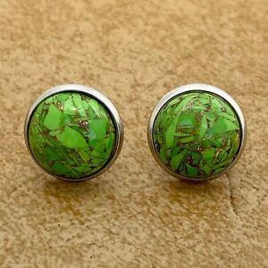 Copper Green Turquoise Post Stud Earrings Gemstone Jewelry Bezel Setting