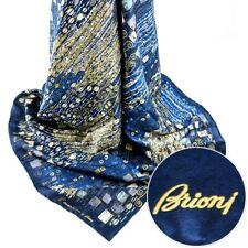 New BRIONI Navy Gold White Tan Silk Scarf Shawl Wrap Headscarf Hijab MSRP $795