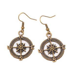 Vintage Steampunk Nautical Rudder Ear Hook Pendant Pirate Compass Helm Earrings