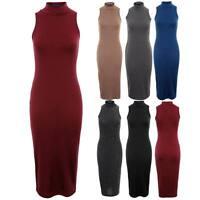 Women's Turtle Neck Plain Maxi Full Length Ladies Sleeveless Dress