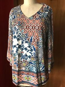 Chico's Chinoiserie Multi Color Bell Sleeve Poly Spandex Jersey Sz 2