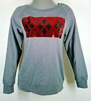 Batman Harley Quinn Mad Love 2-Way Sequin Long Sleeve Shirt M Gray