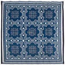 Waterproof Reversible Garden Patio Decking Rug Carpet 1.5 x 1.5m - Blue Mosaic