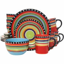 Gibson Elite 16 Piece Multi Color Glaze Dinnerware Set with Plates, Bowls & Mugs