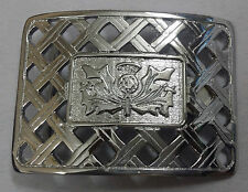 Scottish Thistle Belt Buckle Lattice Chrome Finish/Thistle Lattice Kilt Buckles