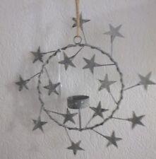 Hängeleuchter, Hänge - Teelichthalter, Kranz, Stern, Zink grau, Shabby,  26 cm