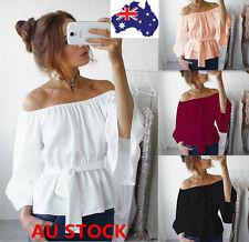 Women Off Shoulder Strapless Ruffle Sleeve Shirt Waist Belt Tops Casual Blouse