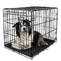 Vibrant Life Single-Door Folding Dog Crate with Divider, 42""
