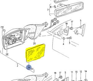 AUDI 100 200 5000 V8 1984-94 DRIVERS SIDE MIRROR GLASS FLAT 443857535N