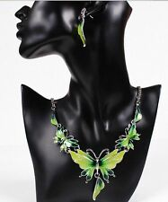 Fashion Women Butterfly Pendant Collar Statement Bib Necklace Earrings Set