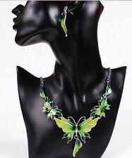 Fashion Women Butterfly Pendant Collar Statement Bib Necklace Earrings Set