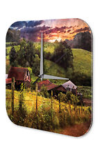 Wall Clock Feng Shui Picture  old farm pasture Decorative Acrylglass