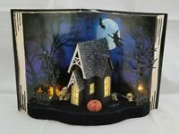 Halloween Haunted House Skull Witch Pumpkin Table Decor Book Light Up 12x8""