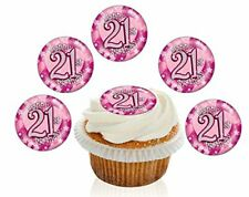 12 Pre Cut 21st Birthday Pink Sparkle Toppers Edible Cupcake Decorations