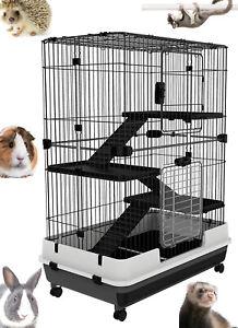 4-Floors Large Habitat On Wheel For Guinea Pig Chinchilla Ferret Hedgehog Rabbit