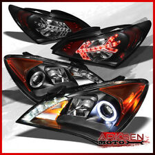 Fits 10-12 Genesis 2 Door Halo DRL Projector BLK Headlights+BLK LED Tail Lights