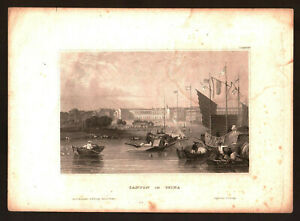 1850. ASIA, CHINA, CANTON IN CHINA. Antique steel engraving