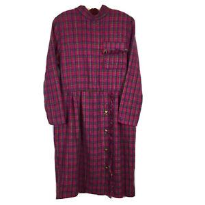 Vintage Tweed Dress Long Sleeve Tartan Plaid Holiday Sheath Fringe Belted 10P
