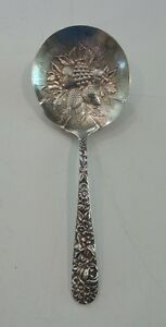 "S. KIRK & SON ""REPOUSSE"" STERLING SILVER 5.25"" BERRY SPOON, NO MONOGRAM, 30 g."