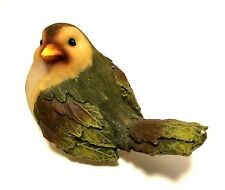 Bird Figurine Wood Look Resin Green Leaf Feathers 3.25 inches Tall