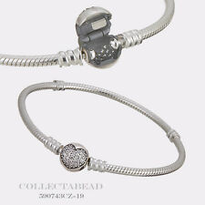 """Authentic Pandora Silver Sparkling Heart CZ Clasp Bracelet 7.5"""" 590743CZ-19"""