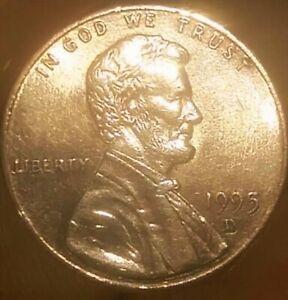 Lincoln Memorial de 1995 D Doubled Die en anverso y reverso moneda con error