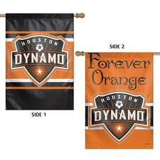 "HOUSTON DYNAMO FOREVER ORANGE 28""X40"" DOUBLE SIDED BANNER FLAG NEW"