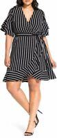 City Chic Plus Size 14 V-neck Striped Faux Wrap Dress Black White