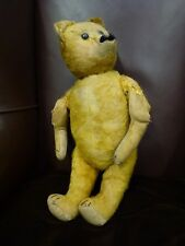 Vintage No No Old jointed Straw filled Glass eye fur Teddy Ted Bear 1900 - 1920