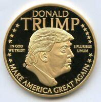 Donald Trump 2016 Proof Medal Round 24k Gold layered MAGA Battle - BD805