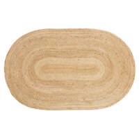 Natural Woven Braided Jute Oval Reversible Indoor Area Rug - 5' x 8', Beige