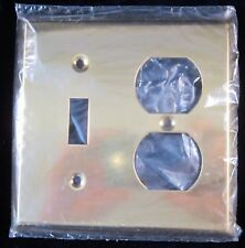 Brass Plate Cover Single ToggleLight Switch & Double Outlet 4.5 in - NOS Canada
